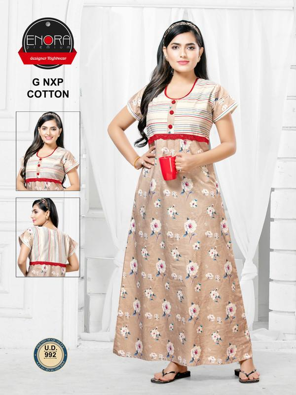 Light Coloured Digital Print Cotton Nighty-1044 - The Loungewear