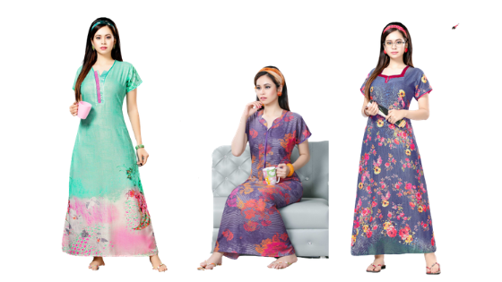 Assorted Pack of 3 - Printed Alpine Nighty- 713 - The Loungewear