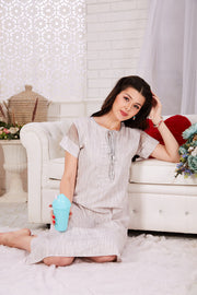 Light Grey Printed Rayon Short Nighty-1123