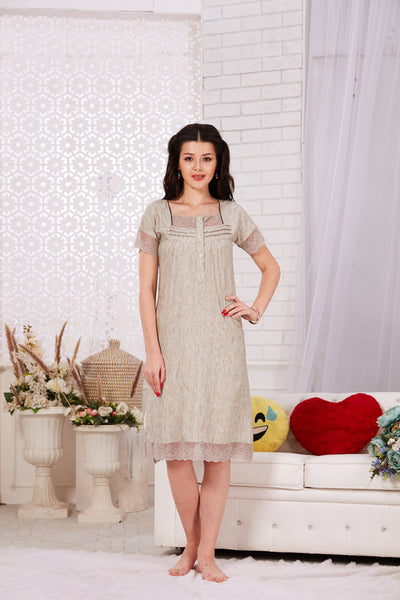 London Grey Rayon Short Nighty-1122 - The Loungewear