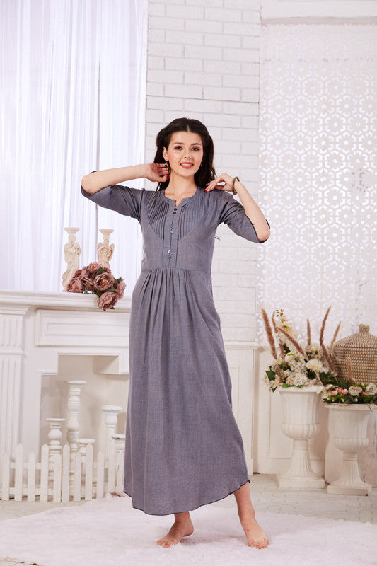 Steel Grey Cotton Nighty - 1136 -The Loungewear