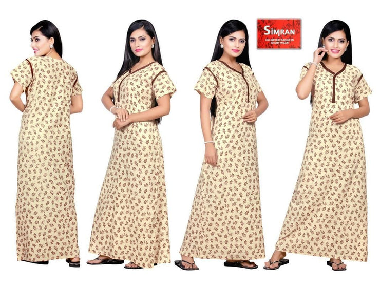 Beige  Printed Cotton Maxi Nightdress - The Loungewear