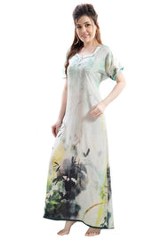 Light Coloured Digital Print Premium Rayon Nighty-1105 - The Loungewear