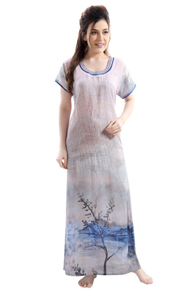 Light Coloured Digital Print Premium Rayon Nighty-1106 - The Loungewear