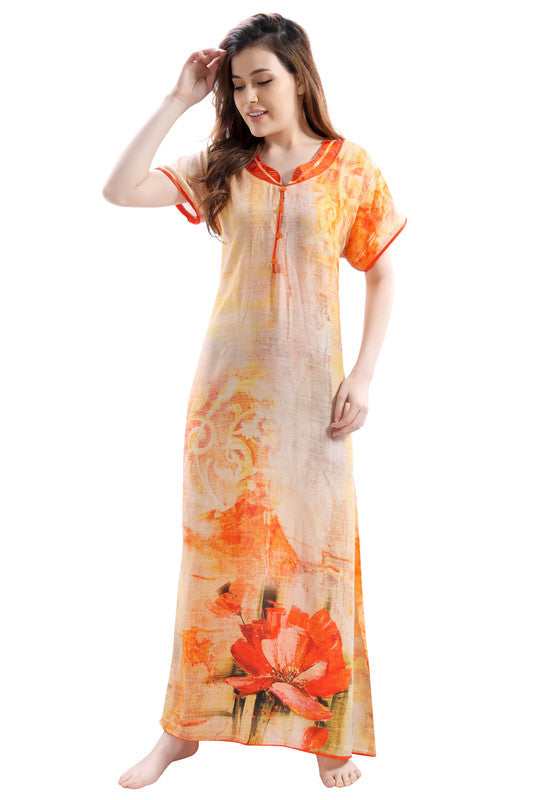Multicoloured Digital Print Premium Rayon Nighty-1107 - The Loungewear