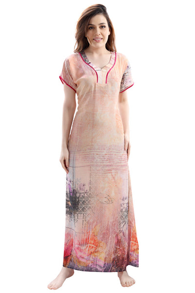 Light Coloured Digital Print Premium Rayon Nighty-1108 - The Loungewear