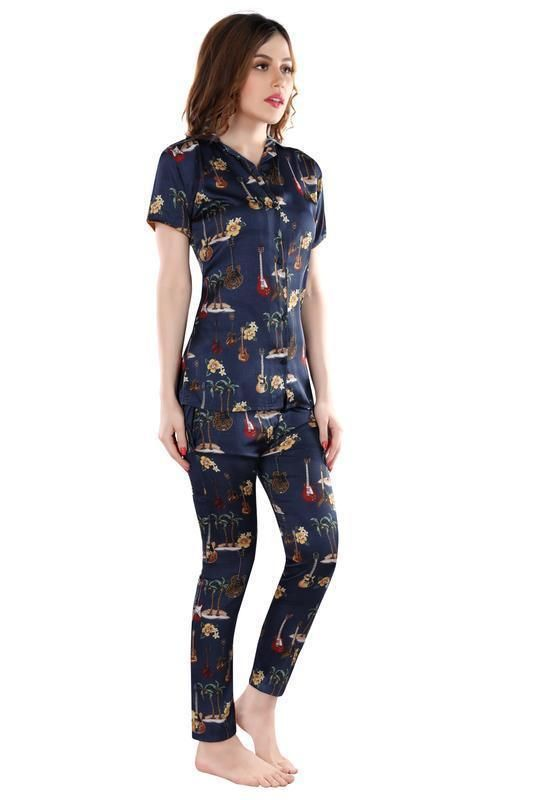 Blue Printed Satin Night Suit-1006 - The Loungewear