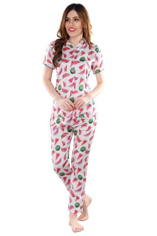 White & Pink Printed Satin Night Suit-1007 - The Loungewear