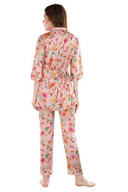Multicoloured Printed Satin Night Suit-1009 - The Loungewear