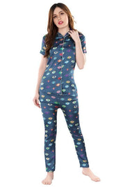 Multicoloured Printed Satin Night Suit-1010 - The Loungewear