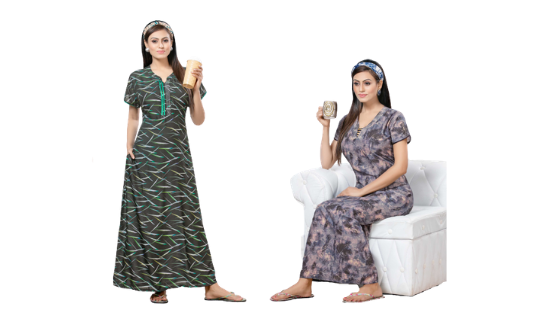 Assorted Pack of 2 - Printed Modal Nighty- 937 - The Loungewear