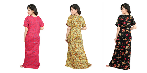 Assorted Pack of 3 - Printed Cotton Nighty-1127 - The Loungewear