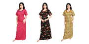 Assorted Pack of 3 - Printed Cotton Nighty-1127