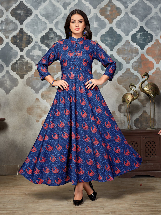 Blue Ethnic Printed Rayon Anarkali Kurti - The Loungewear