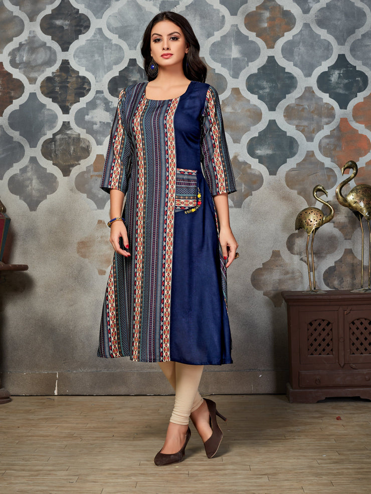 Navy Blue Geometric Printed Rayon A-Line Kurti - The Loungewear