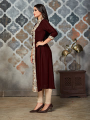 Brown & Off-White Ethnic Printed Rayon A-Line Kurti - The Loungewear