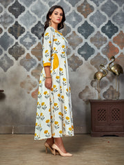 White Floral Printed Rayon Anarkali Kurti - The Loungewear
