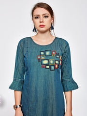 Green Straight Fit Geometric Printed Denim Kurti - The Loungewear