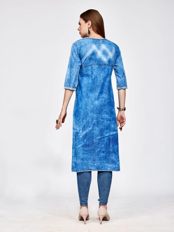 Blue Straight Denim Embroidered Kurti - The Loungewear