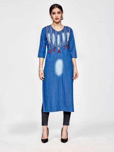 Blue Straight Denim Tassels Kurti - The Loungewear