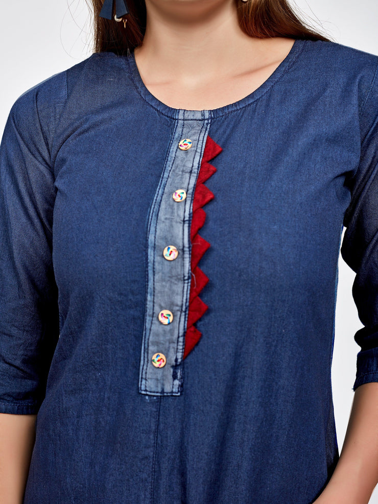 Blue Half and Half Straight Fit Kurti - The Loungewear