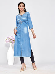 Light Blue Washed Denim Embroidered Kurti - The Loungewear