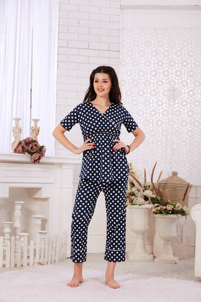 Navy Blue Polka Dot Cotton Night Suit- 1125 - The Loungewear