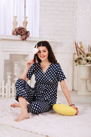 Navy Blue Polka Dot Cotton Night Suit- 1125