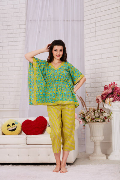 Green & Yellow Printed Cambric Cotton Kaftan Capri Set- 1115 - The Loungewear