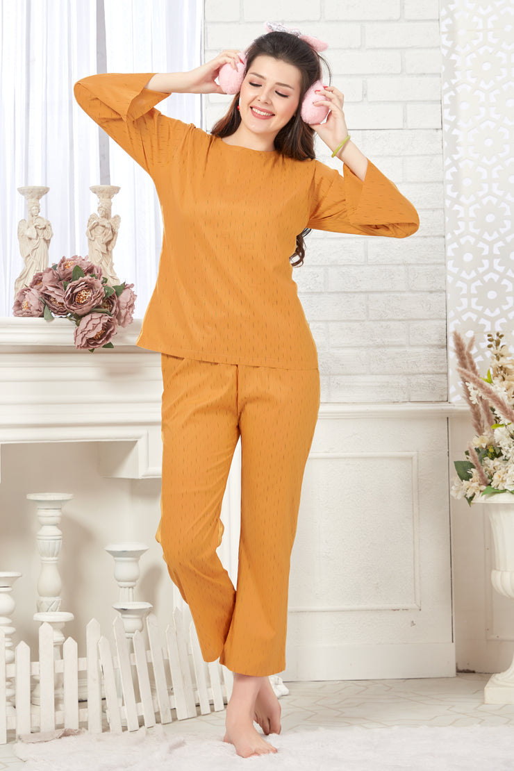 Mustard Printed Cotton Night Suit-1082 - The Loungewear