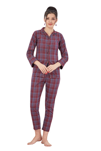 Maroon Checkered Pattern Cotton Night Suit -1133