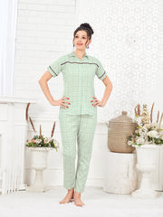 Light Green Checkered Pattern Cotton Night Suit-1084 - The Loungewear