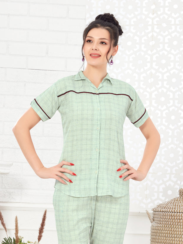Women Light Green Checkered Pattern Cotton Night Suit-1084
