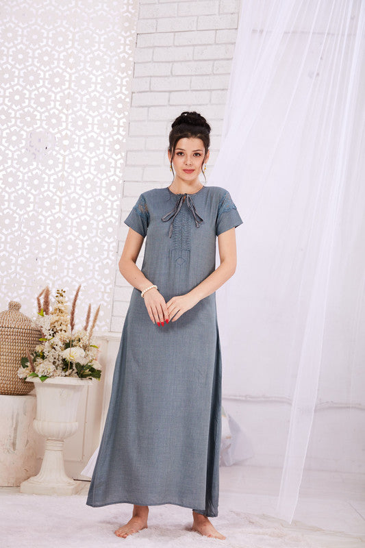 Grey-Blue Rayon Nighty-1124 - The Loungewear