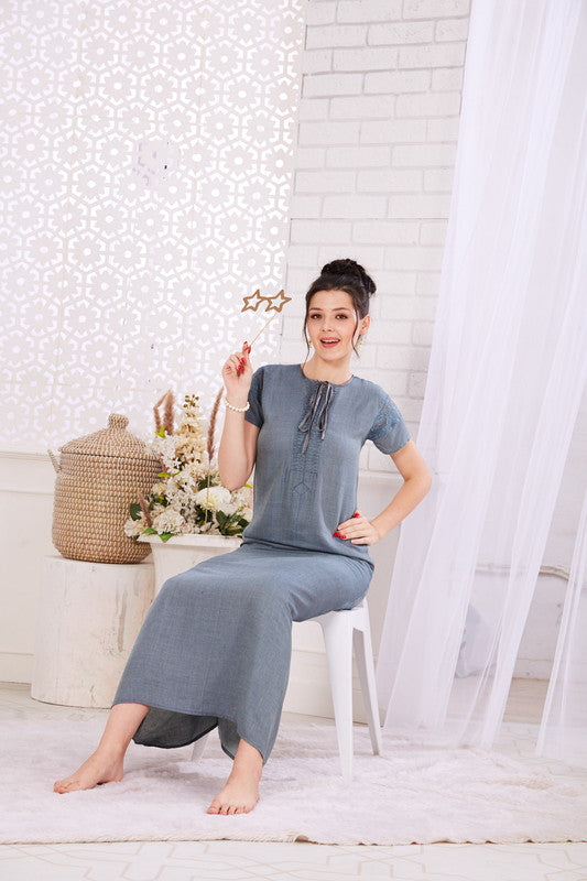 Grayish Blue Rayon Nighty-1124