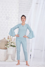 Light Blue Polka Dot Cotton Night Suit-1132 - The Loungewear