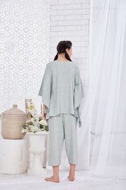 Grey Slub Cotton Kaftan Capri Set-1129 - The Loungewear