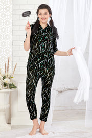 Black Abstract Print Modal Night Suit-1029 - The Loungewear