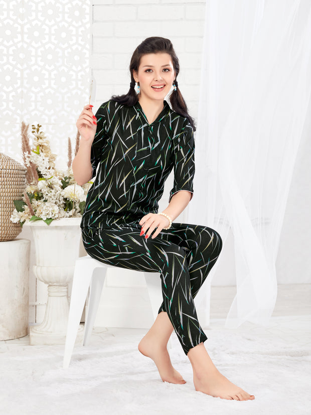 Women Black Abstract Print Modal Night Suit-1029