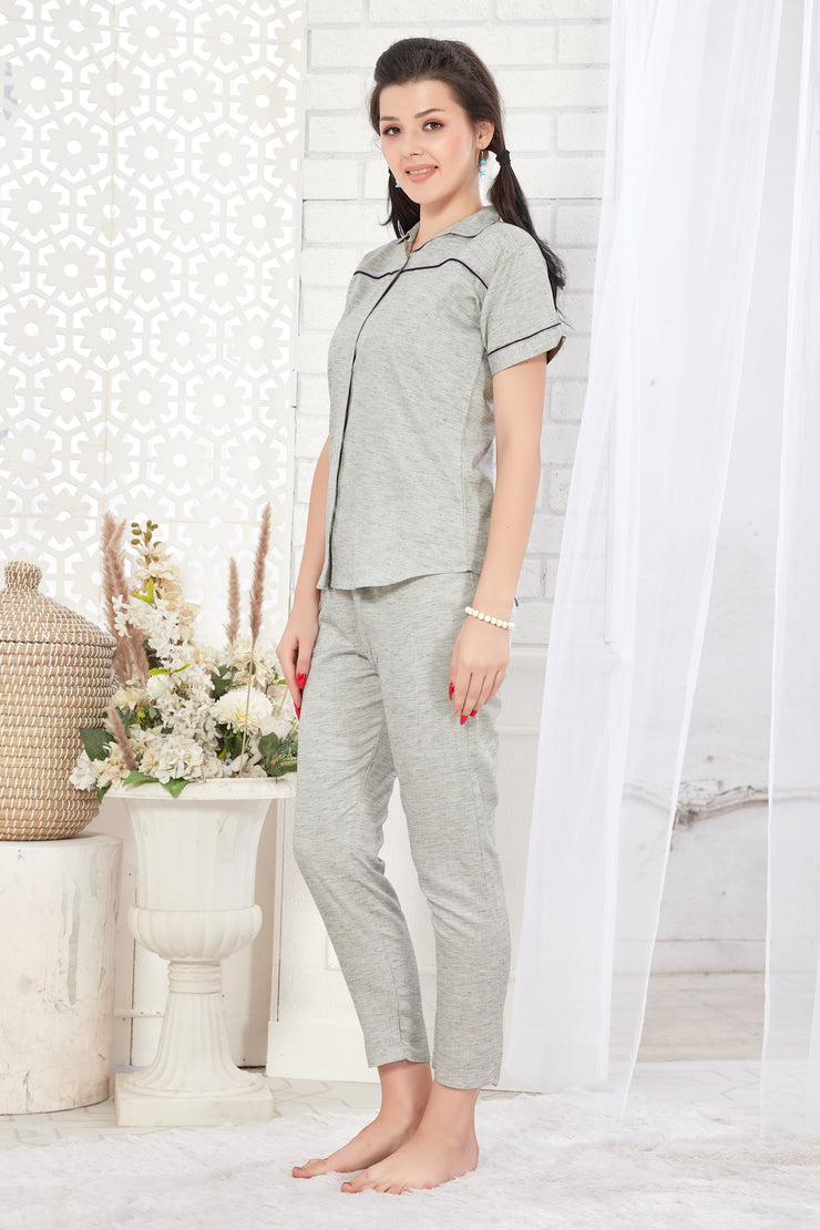 Grey  Printed Cotton Night Suit-1083 - The Loungewear