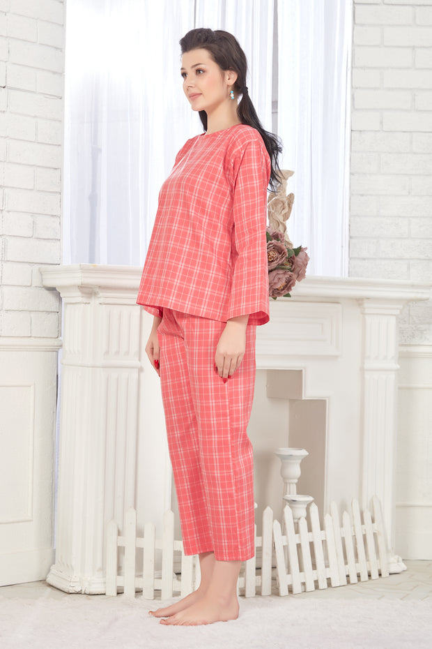 Women Pink Checkered Pattern Cotton Night Suit-1081