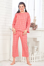 Pink Checkered Pattern Cotton Night Suit-1081 - The Loungewear