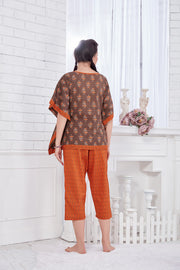 Brown & Rust Printed Cambric Cotton Kaftan Capri Set - 1116 - The Loungewear