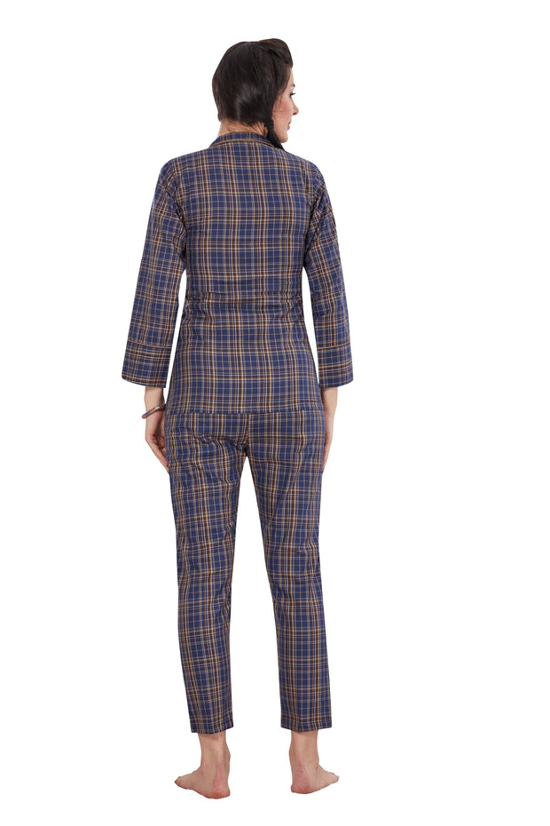 Blue Checkered Pattern Cotton Night Suit -1134
