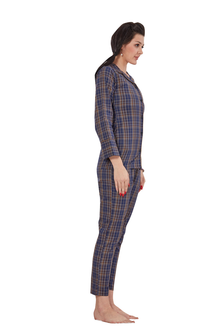 Blue Checkered Pattern Cotton Night Suit -1134 - The Loungewear