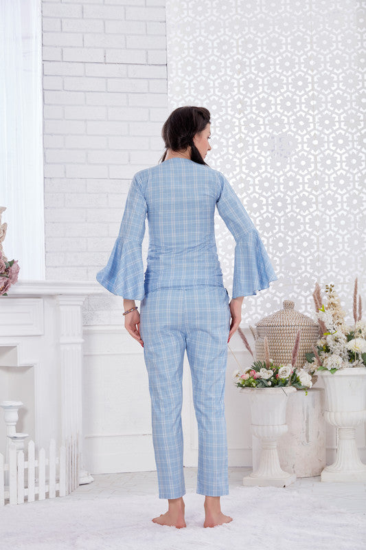 Light Blue Checkered Pattern Cotton Night Suit-1131 - The Loungewear