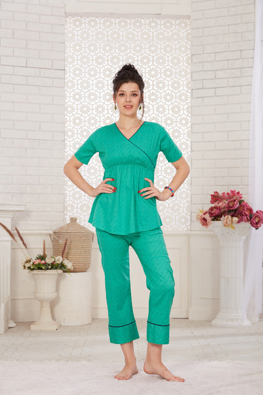 Sea Green Printed Cotton Night Suit- 1126 - The Loungewear