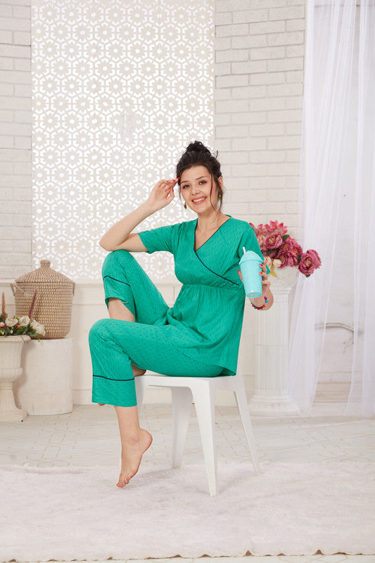 Sea Green Printed Cotton Night Suit- 1126