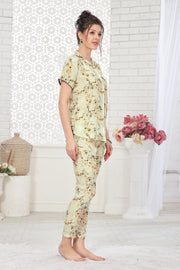 White Printed Modal Night Suit-1032 - The Loungewear