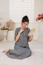 Iron Grey Cotton Nighty - 1138 - The Loungewear
